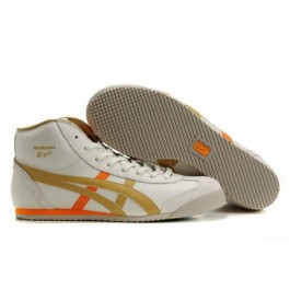 Pour Acheter AX25301189 Soldes Asics Mexico 66 Mid Runner Chaussures Blanc Orange Brown 80481559 Pas Cher