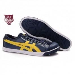 Pour Acheter FH3465 Soldes Asics Onitsuka Tiger Coolidge Lo noi1231re en cuir Bleu Jaune 78567686 Pas Cher