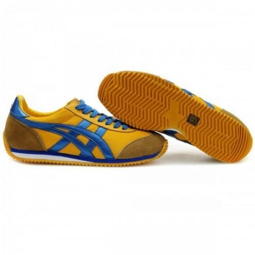 Pour Acheter 1616VV9765 Soldes Asics California Chaussures Bleu Jaune pour femmes 41449992 Pas Cher