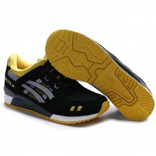 Pour Acheter HH7302 Chaussures Soldes Asics Gel Lyte III Noir Gris Jaune 70083903 Pas Cher