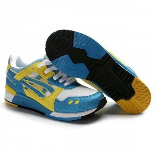 Pour Acheter ZC6803 Chaussures Soldes Asics Onitsuka Tiger Gel Lyte III Bleu Jaune Blanc 717704408937 Pas Cher