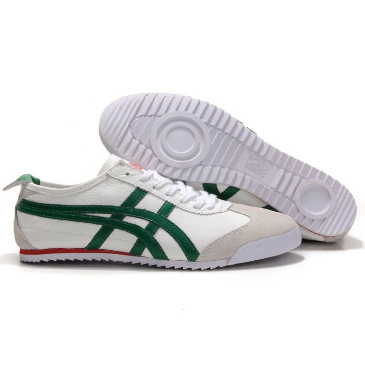 KH5256 Soldes Asics Mexico 66 Deluxe Homme vert blanc 00316062 Pas Cher