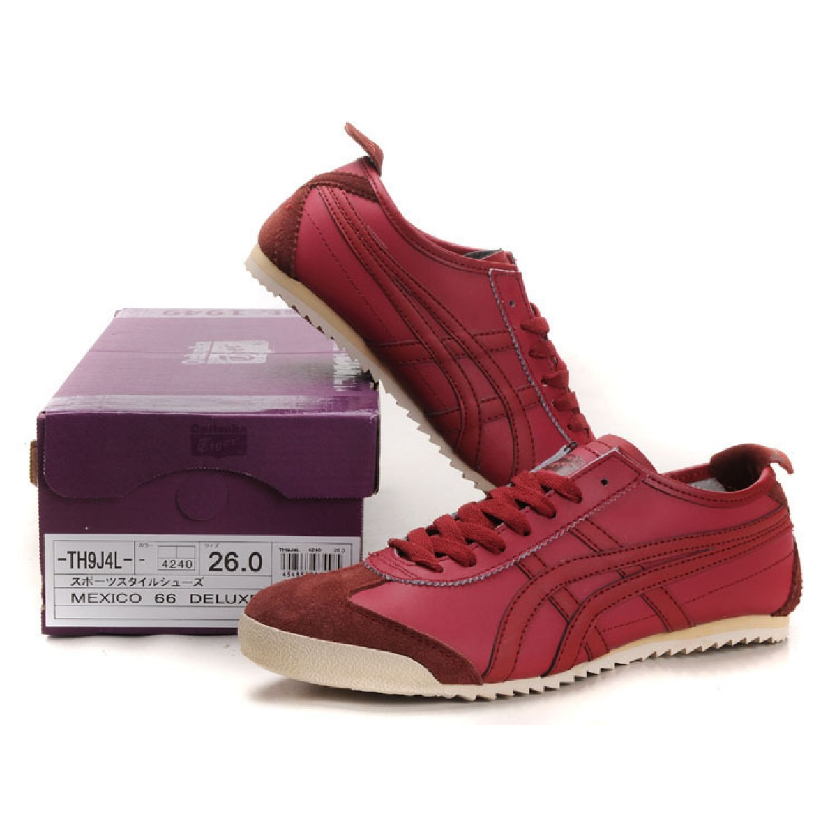 CH7482 Soldes Asics Mexico 66 Deluxe Hommes vin rouge 99952116 Pas Cher
