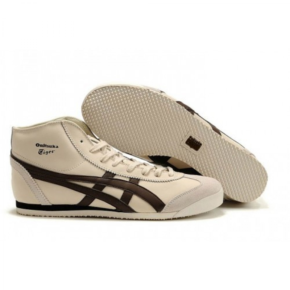 TC2636 Soldes Asics Mexico 66 Mid Runner Chaussures Beige Brown Pour Femmes 05767768 Pas Cher