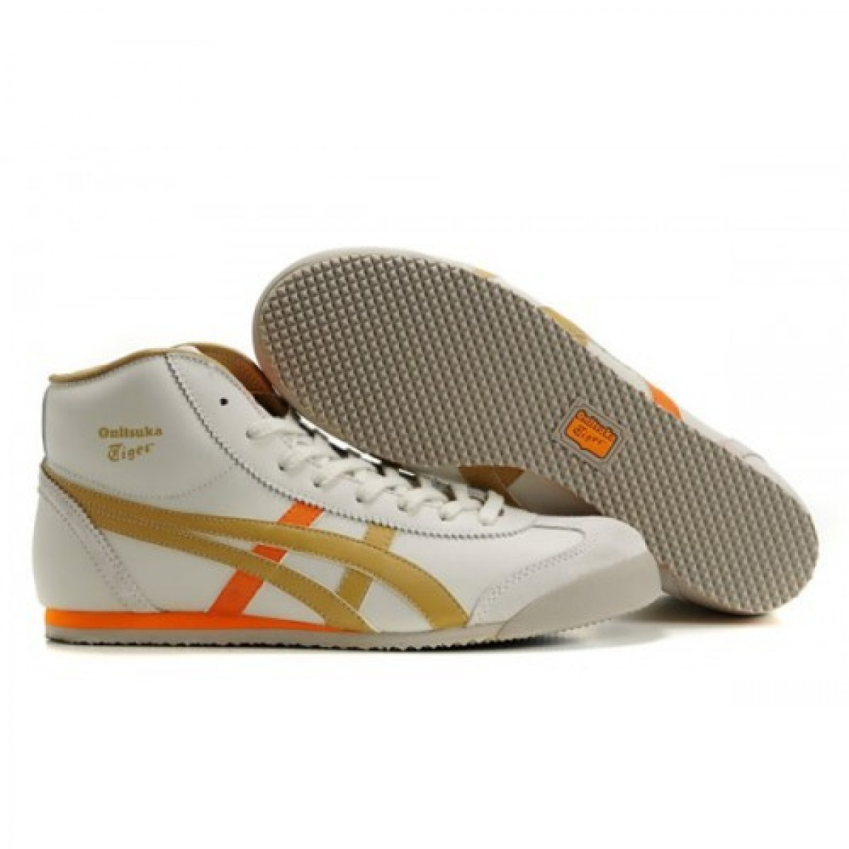 AX2530 Soldes Asics Mexico 66 Mid Runner Chaussures Blanc Orange Brown 80481559 Pas Cher