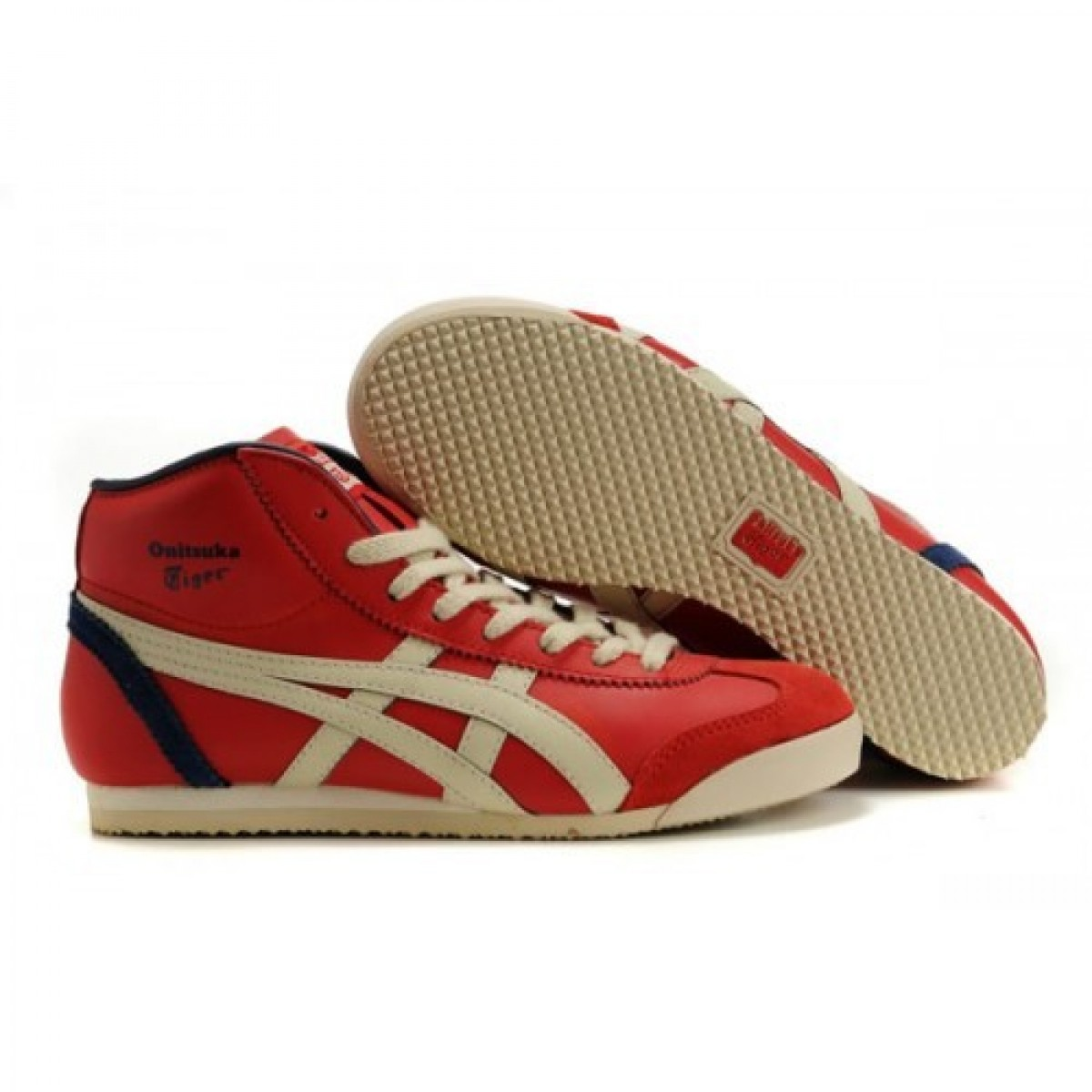 BH4774 Soldes Asics Mexico 66 Mid Runner Chaussures Noir Rouge Beige 85607223 Pas Cher