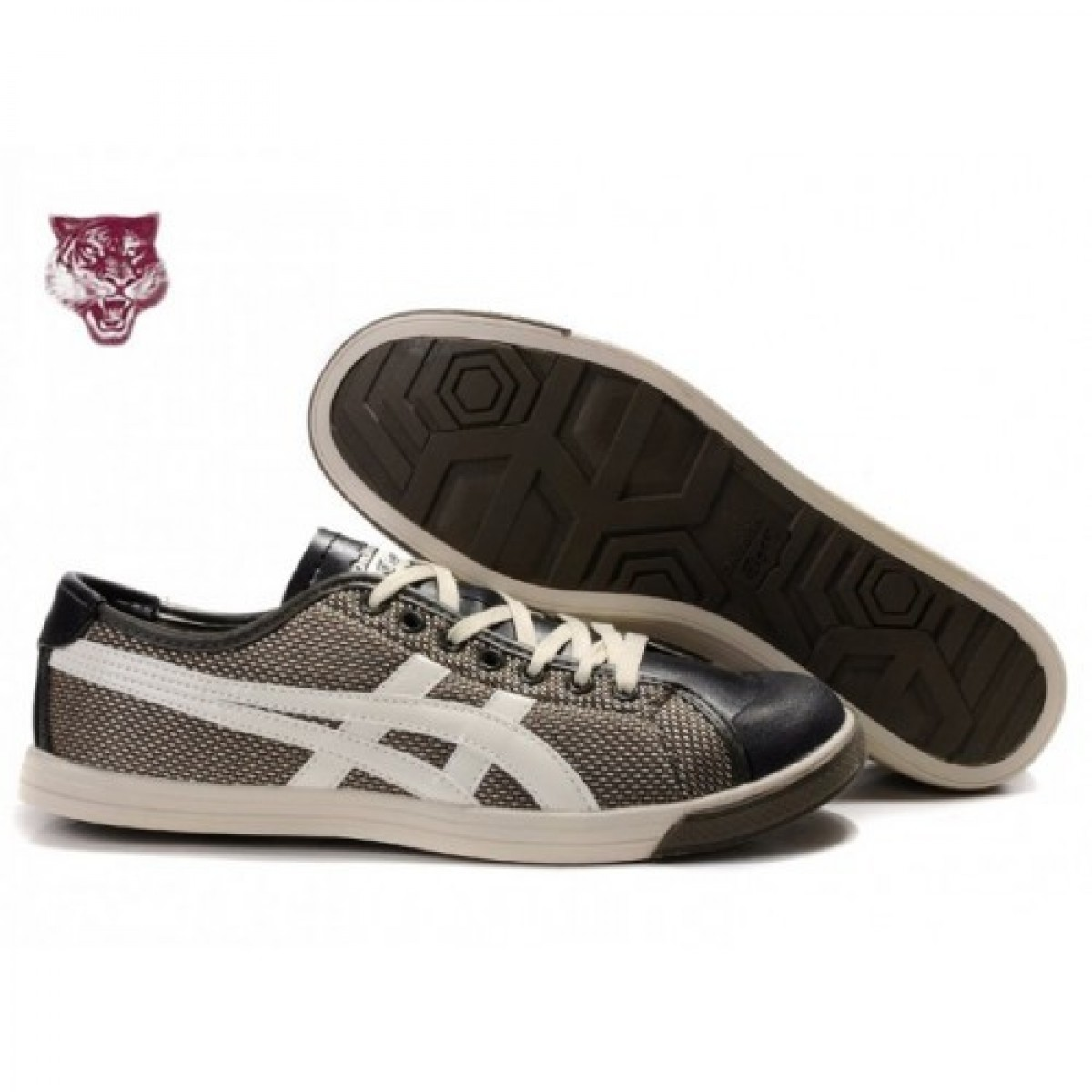 OK9674 Soldes Asics Onitsuka Tiger Coolidge Lo Brown Blanc Noir Chaussures 81644844 Pas Cher