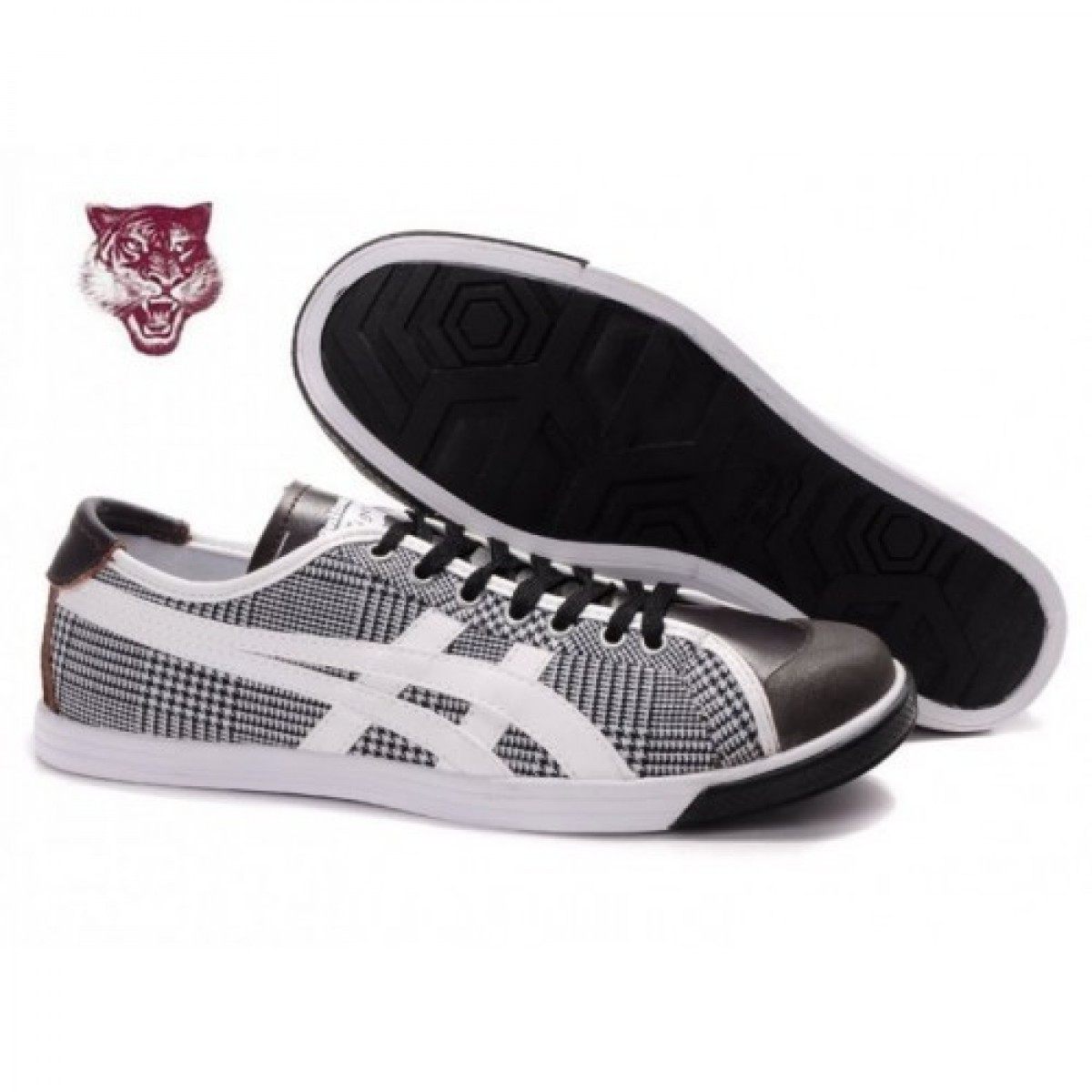 AA5103 Soldes Asics Onitsuka Tiger Coolidge Lo Chaussures Blanc Noir Brun 99501369 Pas Cher