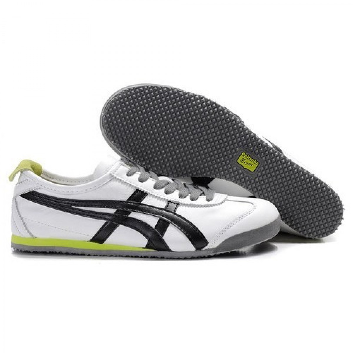 JI6345 Soldes Asics Onitsuka Tiger Mexico 66 Chaussures Homme Blanc Noir Vert 51689264 Pas Cher