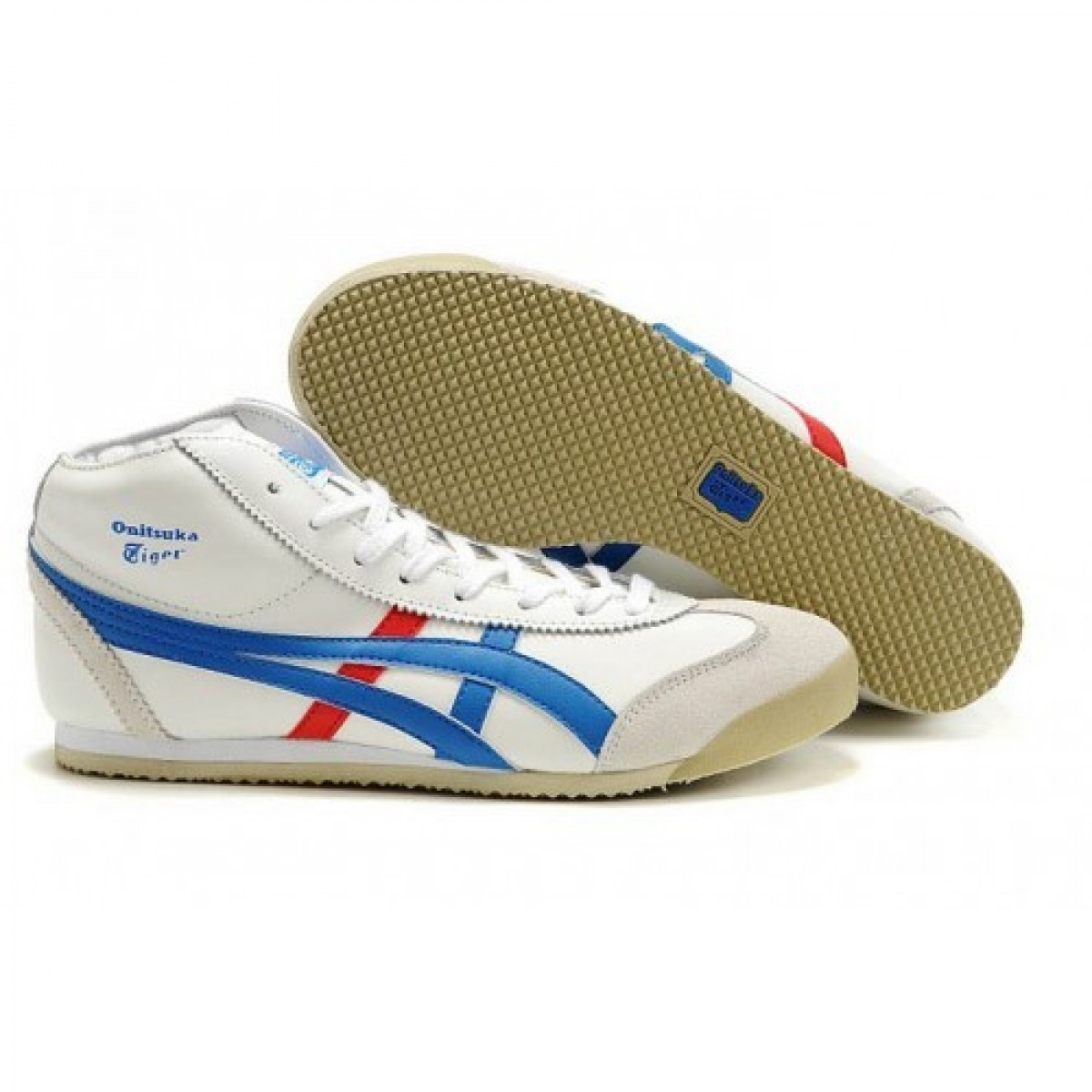 YD7749 Soldes Asics Onitsuka Tiger Mexico 66 Mid Femmes Runner Chaussures Blanc Bleu 16383666 Pas Cher