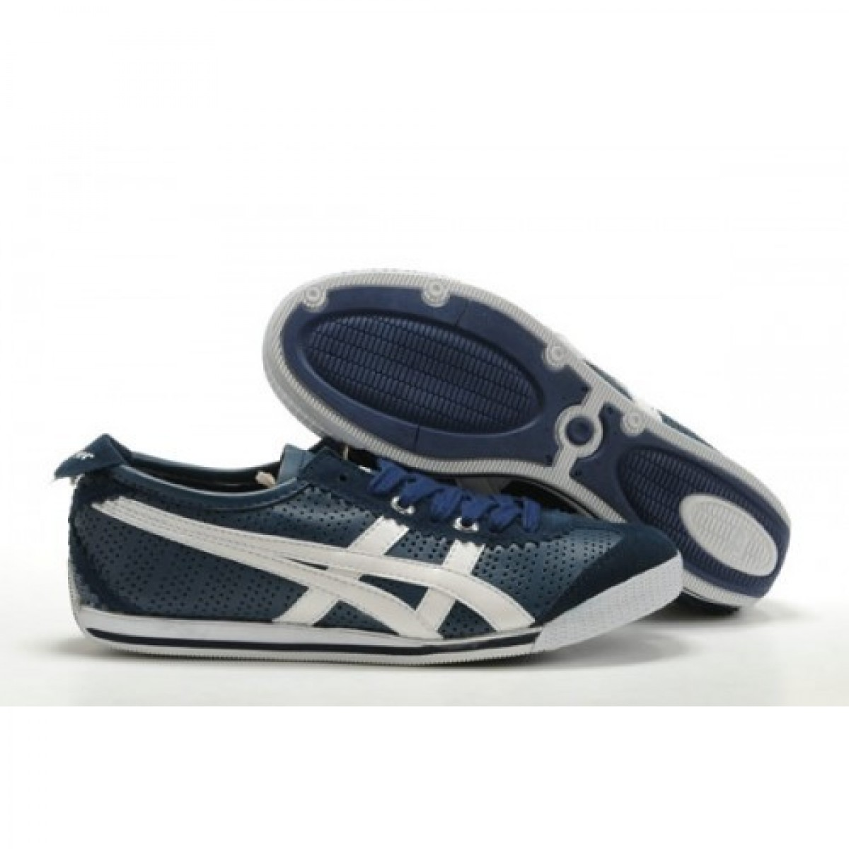 GS9884 Soldes Asics Onitsuka Tiger Mini Cooper Chaussures Blanc Bleu Marine 54078440 Pas Cher