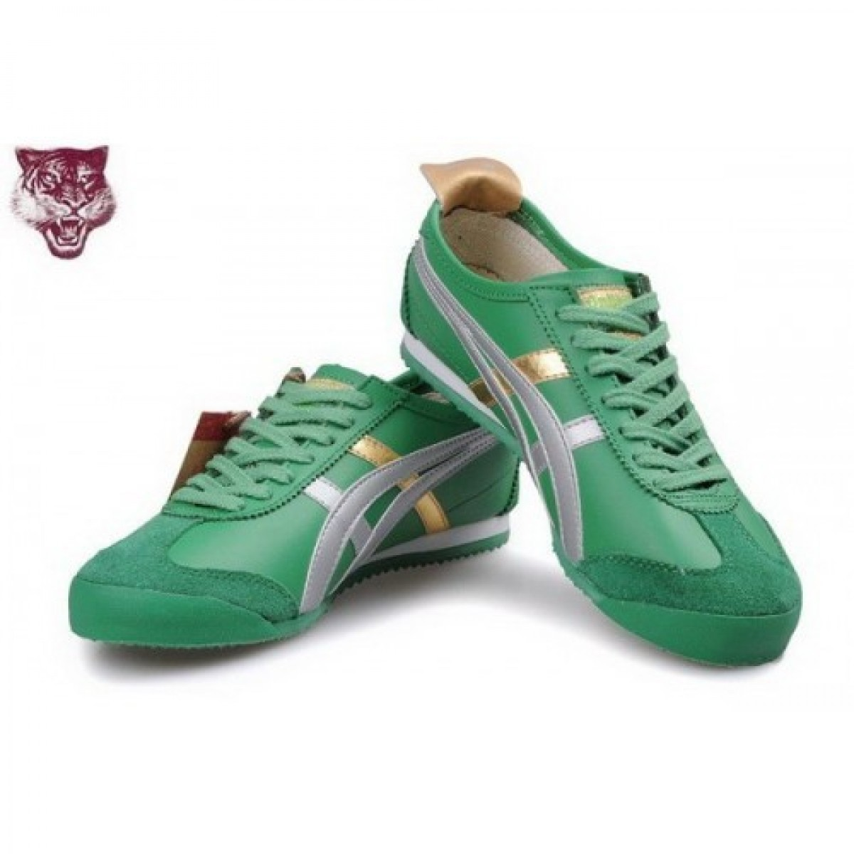 AA9760 Soldes Asics Tiger Kanuchi Chaussures Vert Or Argent 91854704 Pas Cher