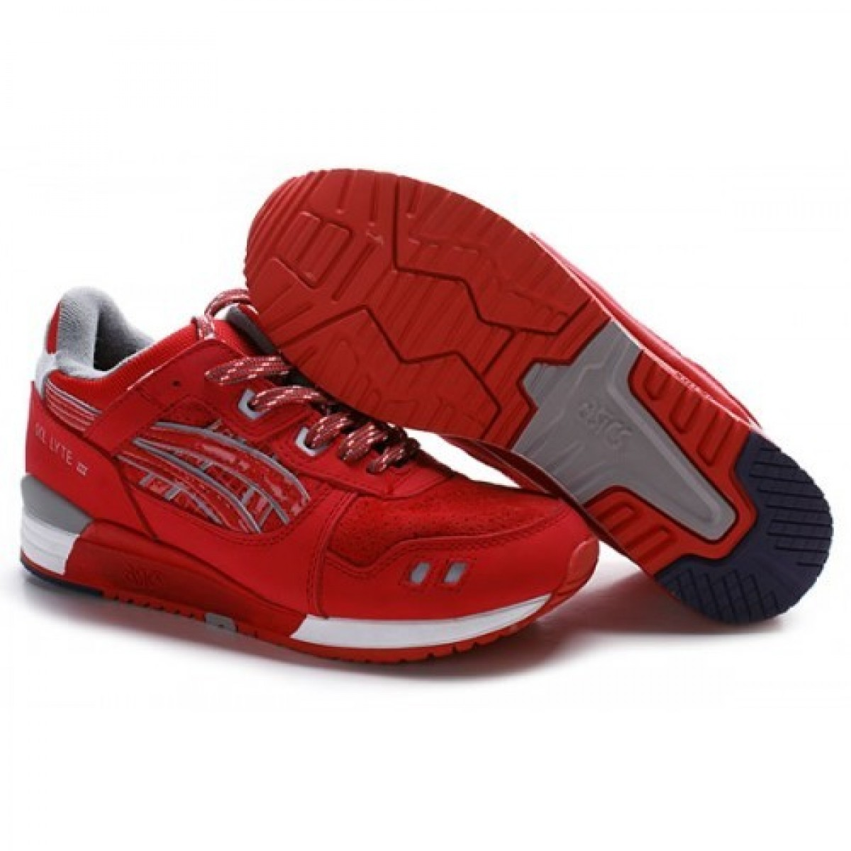 ZV4153 Chaussures Soldes Asics Gel Lyte III Rouge Gris Blanc 22896008 Pas Cher