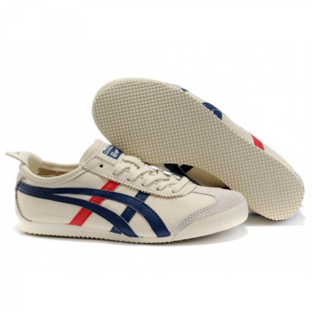 FG5085 Chaussures Soldes Asics Onitsuka Tiger Mexico 66 Femmes Beige Bleu Rouge 41710849 Pas Cher
