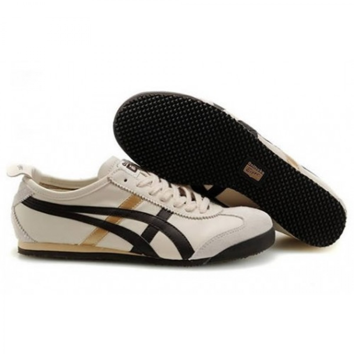 GG3531 Chaussures Soldes Asics Onitsuka Tiger Mexico 66 Femmes Beige Marron Or 25946182 Pas Cher
