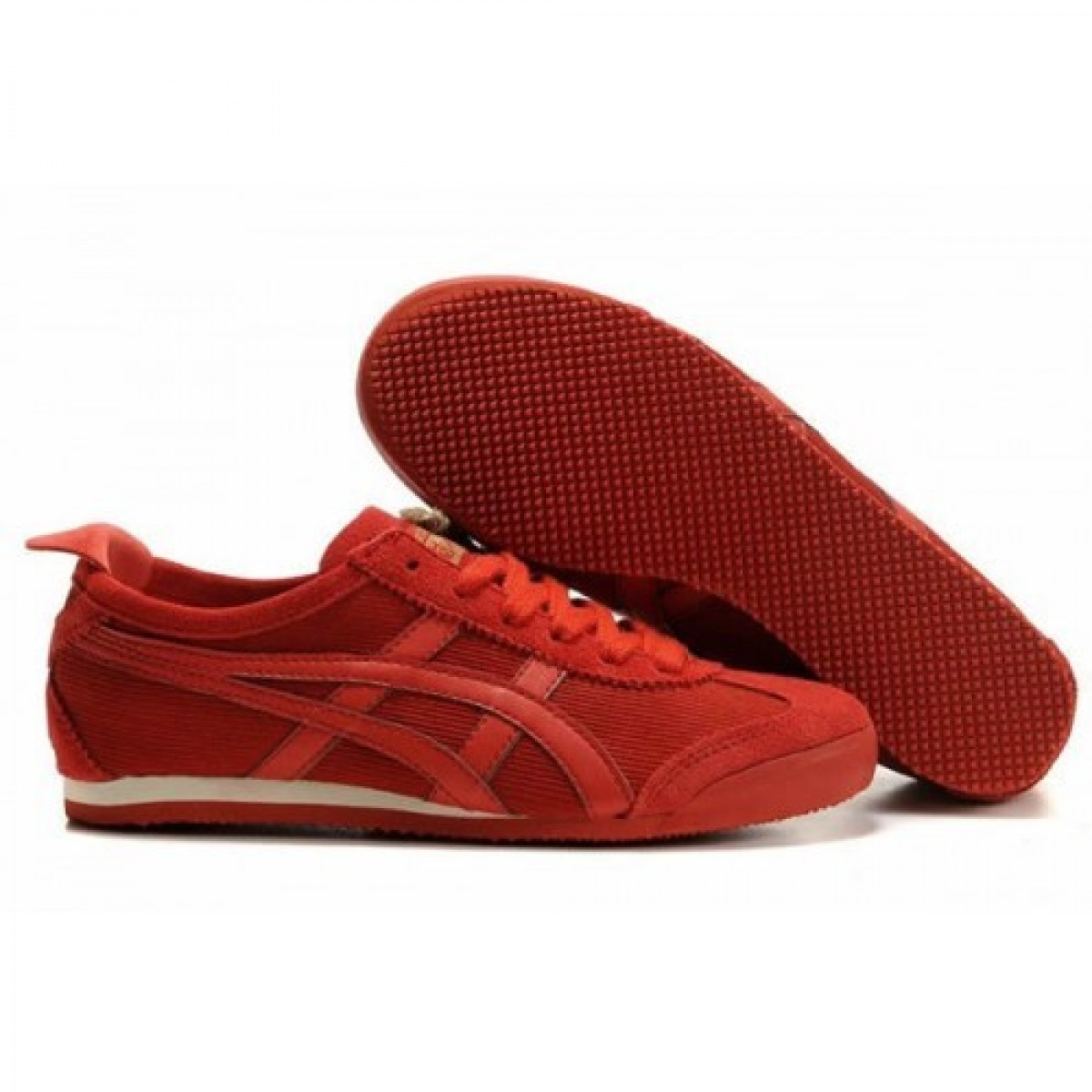 XU7032 Chaussures Soldes Asics Onitsuka Tiger Mexico 66 Femmes Tous rouges 98777348 Pas Cher